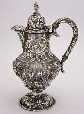 Sterling Silver Repousse Pitcher Castle Landscape Pattern The Loring Andrews Co.