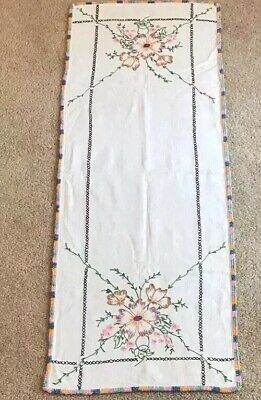 Vintage Hand Embroidered Purple Pink Floral Cotton Linen Runner Multi Crochet