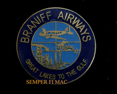 Braniff Air Great Lakes To The Gulf Logo Hat Pin Tie Tac 707 737 747 Dc8 L188