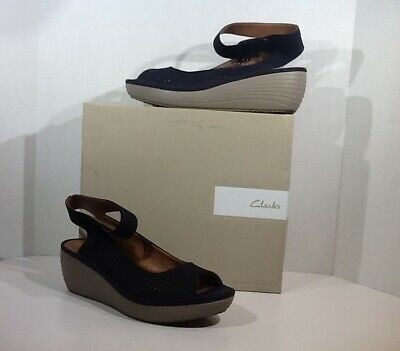 c434eaa11b9 Clarks Reedly Salene Women s Size 11 Navy Perforated Wedge Sandals Shoes  YB-236