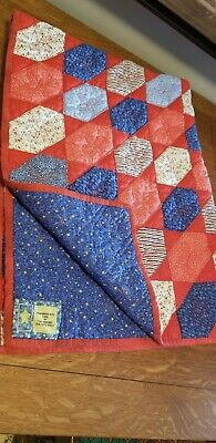 Handmade Crib Quilt Geometric Bright Never Used Boy or Girl