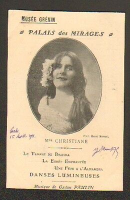 """ARTISTE DANSEUSE / Mlle CHRISTIANE / MUSEE GREVIN """"PALAIS DES MIRACLES"""""""
