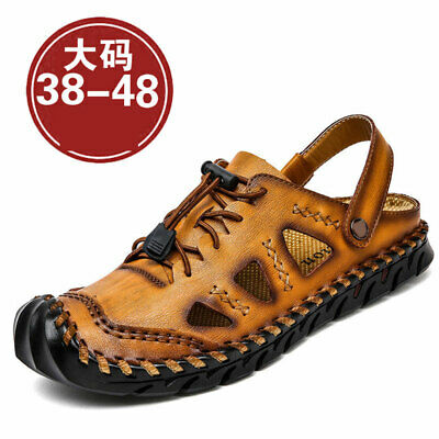 Men Genuine Cow Leather shoes casual Sandals Comfort Slipers outdoor soft slipon