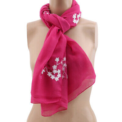 Elegant Lady Shawl New Floral Embroidered Sunscreen Beach Scarf Thin Scarves LG
