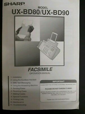 Sharp Fax Machine Manual UX-BD80 & UX-BD90 Facsimile Operation Instructions