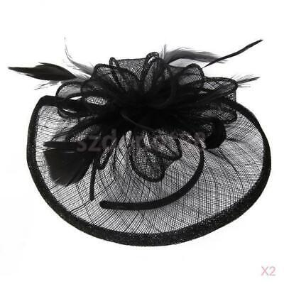 2x Alice Band Hat Fascinator Hair Headband Wedding Ladies Day Headpiece Black