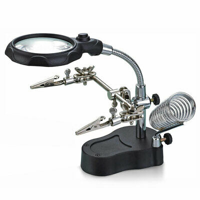Aid Hand Clip LED Magnifying Soldering Iron Stand Lens Magnifier for Jewelry