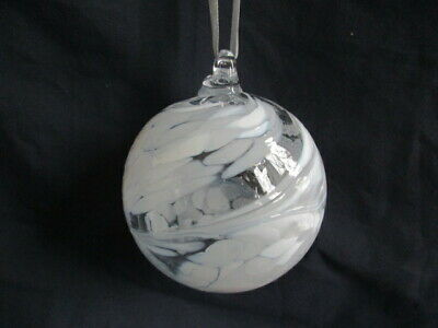 Glass Mouth Blown Spirit of Friendship Ball Swirls Of Pearl 8cm Boxed Gift Idea