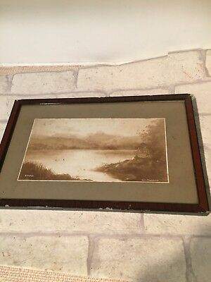 Vintage Antique Framed Print Head Of Windermere G Abraham Sepia