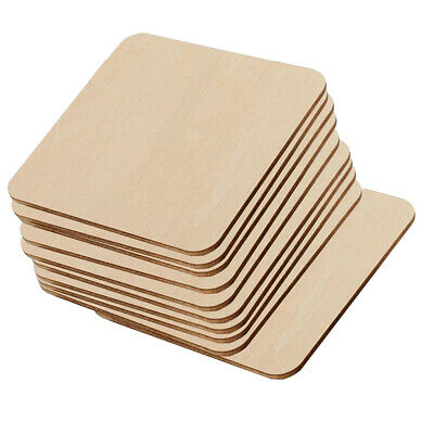 10 Pcs Wooden Square Blank Coasters DIY Unfinished Wood Craft Blanks