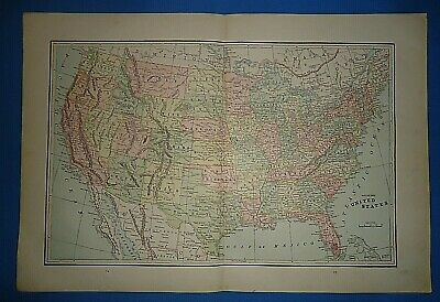 Vintage Circa 1893 UNITED STATES MAP Old Antique Original Atlas Map ~B