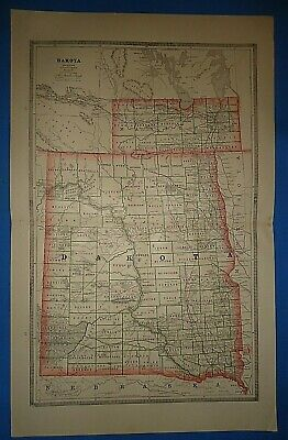 Vintage 1886 DAKOTA TERRITORY MAP Old Antique Original Atlas Map ~A