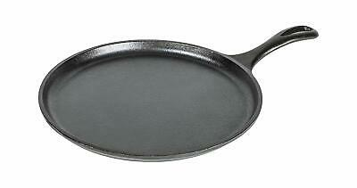 """Lodge Logic 10.5"""" Cast-Iron Round Griddle, Pre-Seasoned, Sturdy Handle for pizza"""