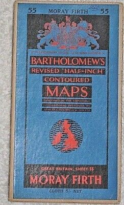 Vintage Bartholomews half inch Contoured map No 55 on cloth - Moray Firth