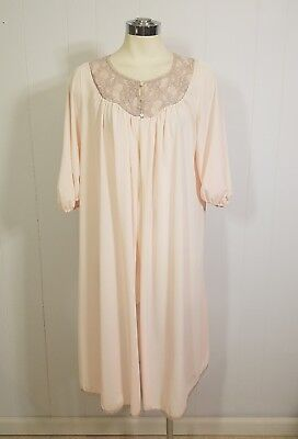 Vintage Formfit Rogers Ballet Pink Nylon Robe Taupe Lace S M