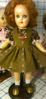 "SSO DOLL CLOTHES BROWN JUMPER DRESS for 14"" P-90 TONI/HONEY/15""SHIRLEY/SWEETSUE"