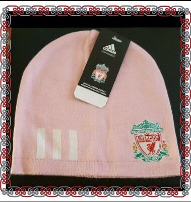 Liverpool Adidas Pink and White Ski Style Hat with Club Crest- Ideal Gift Idea