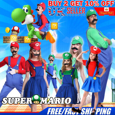 Men Adult Kids Women's Super Mario and Luigi Fancy Dress Cosplay Costume Outfit/