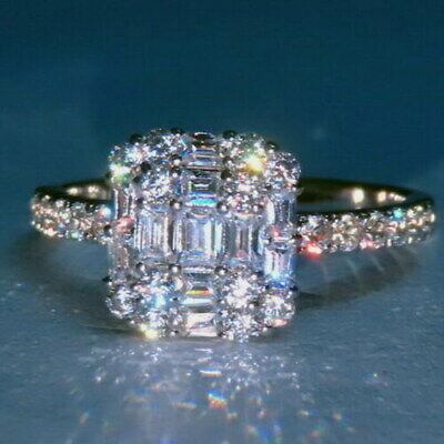 100% NATURAL EFFECT 3Ct Diamond 14K White Gold Engagement Wedding Ring R3-1