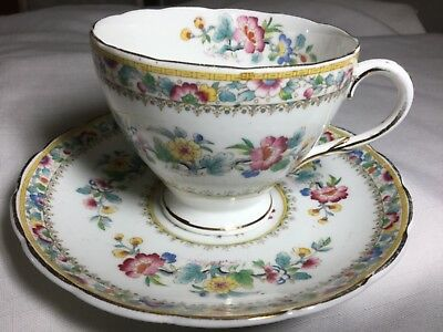 Eb Foley Bone China  Cup And Saucer England     Adornation Pattern