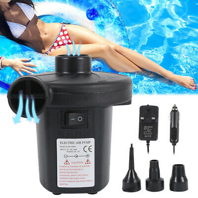 Electric Air Pump Inflator for Inflatables Camping Bed Pool 12V Car Home UK Plug