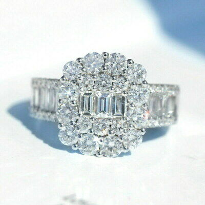 100% NATURAL 2Ct Diamond 14K White Gold Cluster Engagement Wedding Ring R1-4