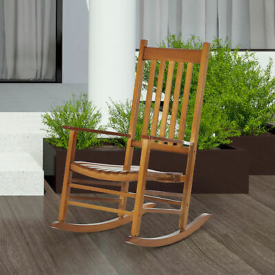 Porch Rocking Chair Solid Wood Home Traditional Bench Furniture Outdoor
