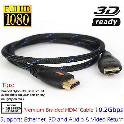 Gold Braided HD HDMI Cable 6ft High Speed Ethernet HDTV 1080P@60Hz 3D Samsung AU