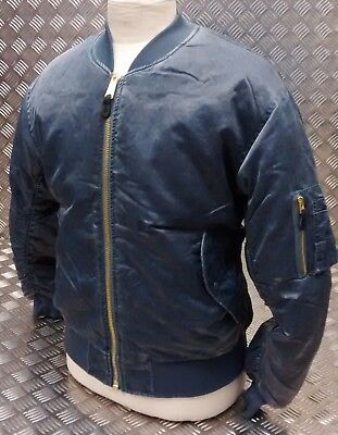 MA1 US Military Style Bomber Jacket MOD/Scooter/Bikers Blue Stone Washed - NEW