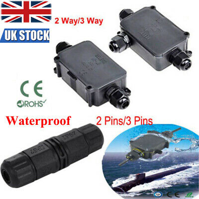 2 3 Pin 2 3 Way Outdoor Waterproof IP66 Cable Connector Junction Box 240v UK