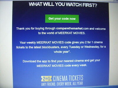 Meerkat Movies-2 for 1 Cinema Tickets-Tuesday or Wed June 2019-NEW