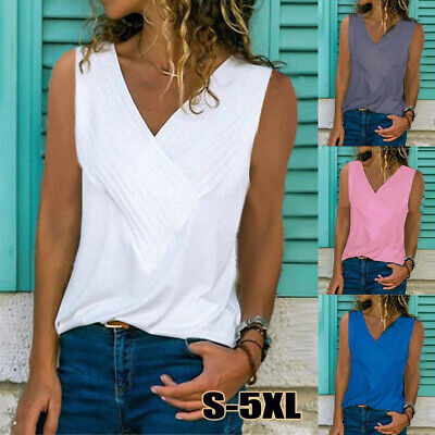 Womens Summer Plain Tank Vest Tops Blouse Ladies Strappy Loose Cami Size 6-20
