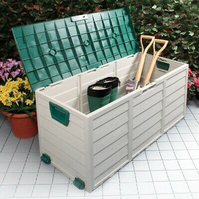 Garden Storage Waterproof Chest Utility Cushion Box Shed Plastic Green Tools New