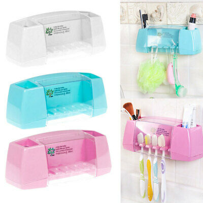 Home Bathroom Toothbrush Holder Wall Mount Suction-cup Toothpaste Storage Rack