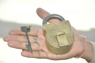 Old Brass Solid Heavy Special Hind Industries Unique Shape Solid Padlock