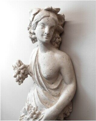 Roman or Greek Goddess Wall Mounted Sculpture Statue Art w Grapes Angel Cherub