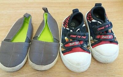 Two Pairs Of Boys Shoes Size 5 Infant <J8352