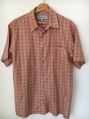 "Regatta Cotton Rust Check Polyester Mix Size L 42"" Short Sleeve Shirt <T8194"
