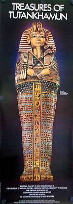 "Orig 1976 Treasures of Tutankhamun Poster - Miniature Coffin - 49 1/2"" x 18 1/2"""