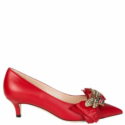 20f9105418bc 57949 auth GUCCI red leather QUEEN MARGARET Pointed-Toe Pumps Shoes 38