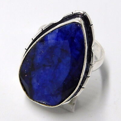 Blue Sapphire 925 Sterling Silver Plated Handmade Jewellery Ring UK Size-O