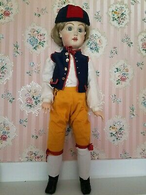 "27"" Antique Reproduction French tete Jumeau Bisque Head Artist Boy sweden Doll"