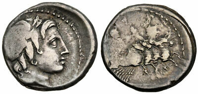 FORVM VF Overstruck Roman Republic 86 BC Denarius Head of Apollo / Jupiter