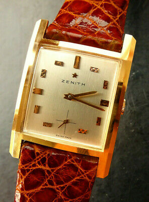 Zenith Art Deco Curvex Yellow Gold 18C 750 Vintage Men's Watch 1950 Neu NOS
