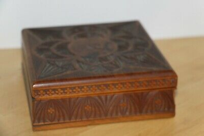 "vintage carved wooden box  6""x6""x2"""