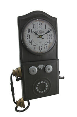 Zeckos Antique Brown Old Town Vintage Rotary Phone Wall Clock