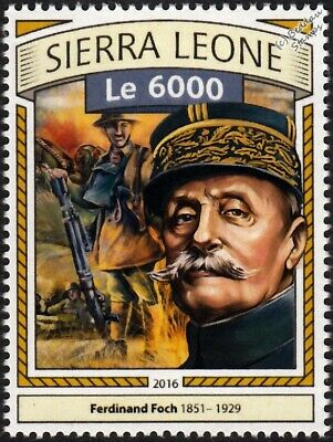 WWI BATTLE OF THE SOMME French Marshal Ferdinand Foch & Soldier Stamp (2016)