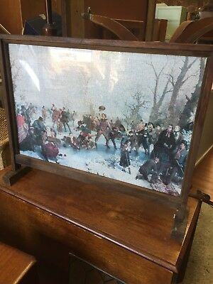 Vintage Firescreen Hand Made With Jigsaw Pond Skating  Print 13/8/W