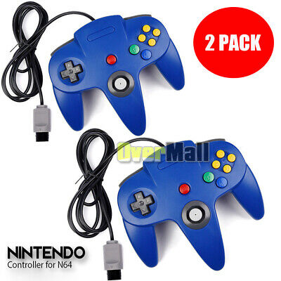2x N64 Controller Joystick Gamepad Long Wired for Nintendo 64 Console Games Blue
