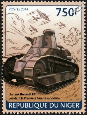 WWI French Army RENAULT FT-17 / FT17 Light Tank Stamp (2014 Niger)